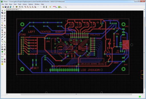 Completed board layout in Eagle