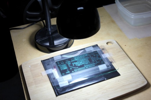 PCB exposure with developer ready (in the plastic container)